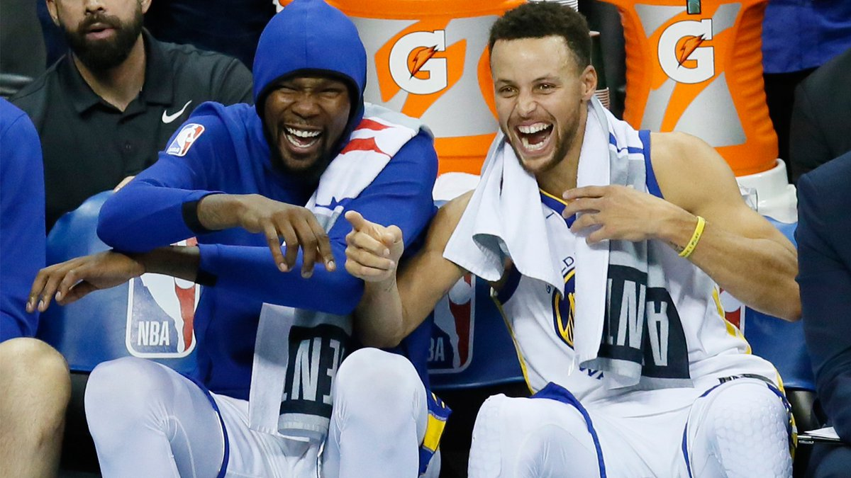 4f39ee0cb286 Kevin Durant busts out laughing when CJ McCollum says the Blazers can win  the title   Don t worry about what goes on at the top of things  ...