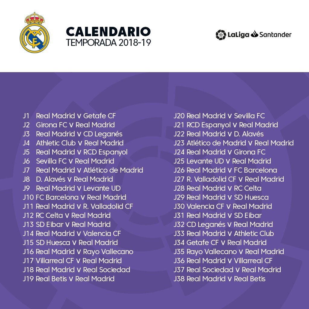 Calendrier Madrid.Real Madrid Fr On Twitter Le Calendrier Complet Du Real