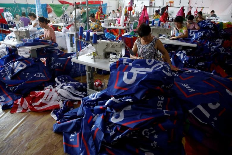 Workers making Trump 2020 campaign flags in Fuyang, Anhui Province. #AmericaFirst