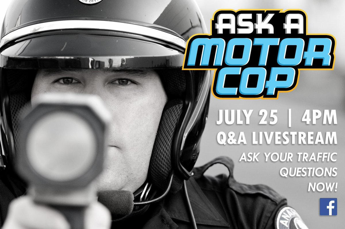 Ask your #traffic questions NOW and tune in to #AskAMotorCop on July 25th at 4PM on Facebook live to hear them answered by a #MotorOfficer!  #QandA #roadrules #trafficlaws #motorcop #collisions #citations #parking #DUI #distracteddriving #anaheimpd #motorcycle #safety #police<br>http://pic.twitter.com/p20tOvNSJw