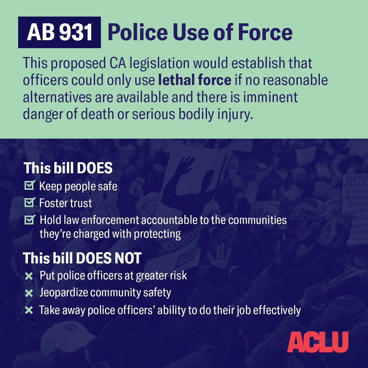 Police should ONLY use lethal force if there are no other alternatives available. If passed in California, AB 931 would save lives, and serve as a model for other states.