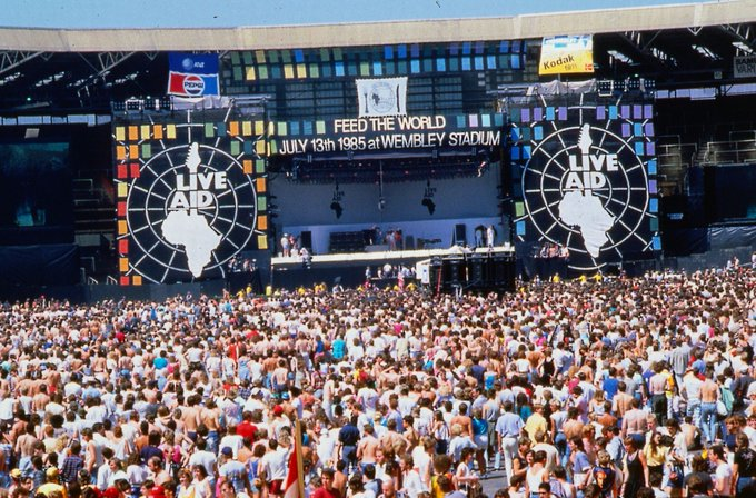 the mail is in. Today in1985 Live Aid concerts held at both Wembley Stadium (London) and John F. Kennedy Stadium (Philadelphia) raises over $70 million for African famine relief. Was it really all that time ago? Foto