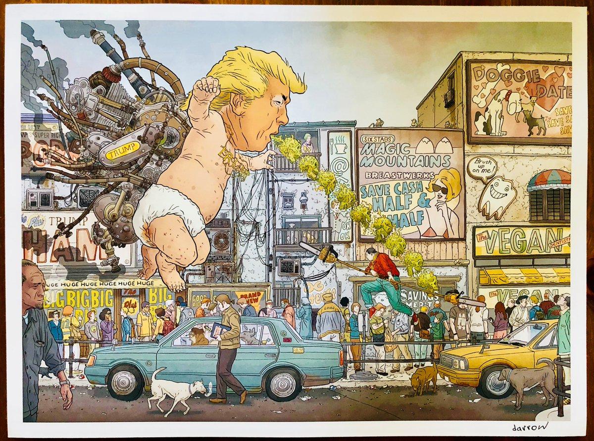 I had the pleasure of meeting one of my favorite artists, #GeofDarrow, the genius behind this piece of art last year. Considering #TrumpUKVisit it seems VERY relevant! #TrumpBaby<br>http://pic.twitter.com/P6mQcuRF1y