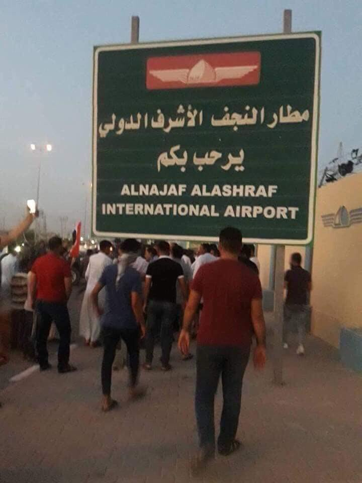 After attacking it by protesters Najaf International Airport have been Shutdown.