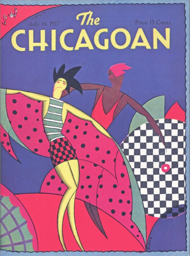 July 16, 1927 cover of the #chicagoan, featuring some incredibly stylish bathing suits. #designfriday #flashbackfriday #vintage #artdecochicago #artdesignchicago #magazine #cover #universityofchicago Copyright The Quigley Publishing Company, a Division of QP Media, Inc.