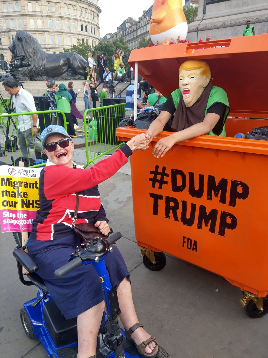 So proud of my 82 year old Mum who travelled from the north with her scooter to protest today with multiple disabilities. Big thank you to the kindness of people along the way. @UKStopTrump #TrumpUKVisit #BringTheNoise #CarnivalOfResistance <br>http://pic.twitter.com/7mGfqxt04T