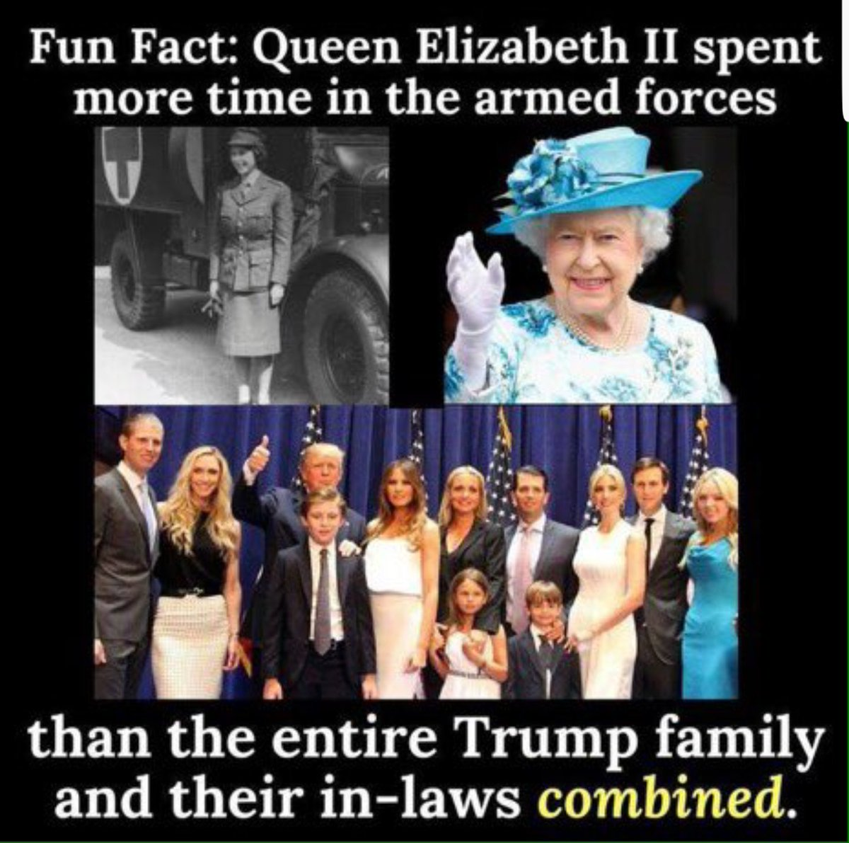 A Little Reminder as @realDonaldTrump &amp; @FLOTUS sit Down to Tea with Queen Elizabeth II.  Maybe Queen Elizabeth can Give *45 a few Pointers on what True Patriotism &amp; Service to One&#39;s Country Looks Like.  #TrumpUKVisit #London<br>http://pic.twitter.com/ge7BijBYOc