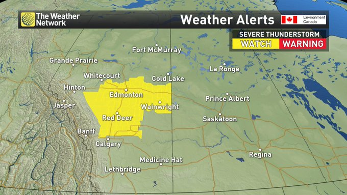 Severe Thunderstorm WATCH in place for central Alberta. Risk for large hail and even a tornado today: #ABstorm #SKstorm Photo