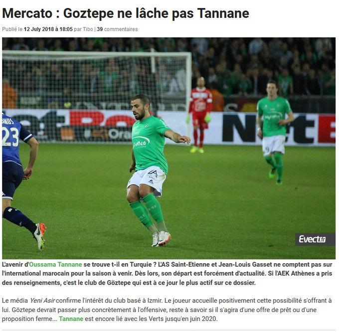 Süper Lig ekiplerinden Göztepe'nin kanat oyuncu arayışı kapsamında Saint Ettene'nin oyuncusu Oussama Tannane'yi istediği öne sürüldü. Photo