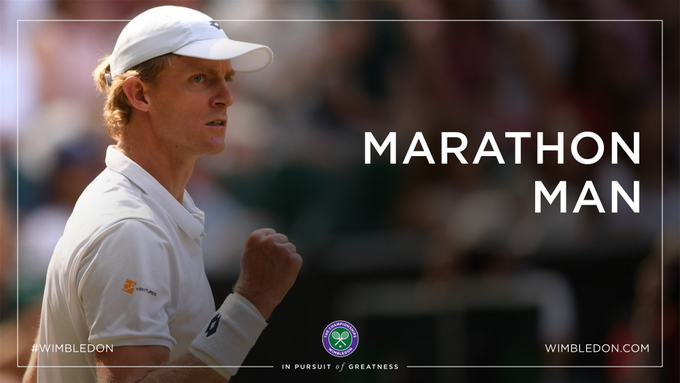 Take a bow, @KAndersonATP After six hours and 35 minutes of pure battle, the South African wins the fifth set 26-24 to reach a first #Wimbledon final Foto