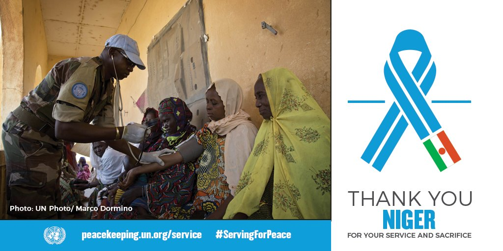 UN Peacekeepers from Niger work to protect civilians & support local communities. We thank them for their service & sacrifice. peacekeeping.un.org/service #ServingForPeace