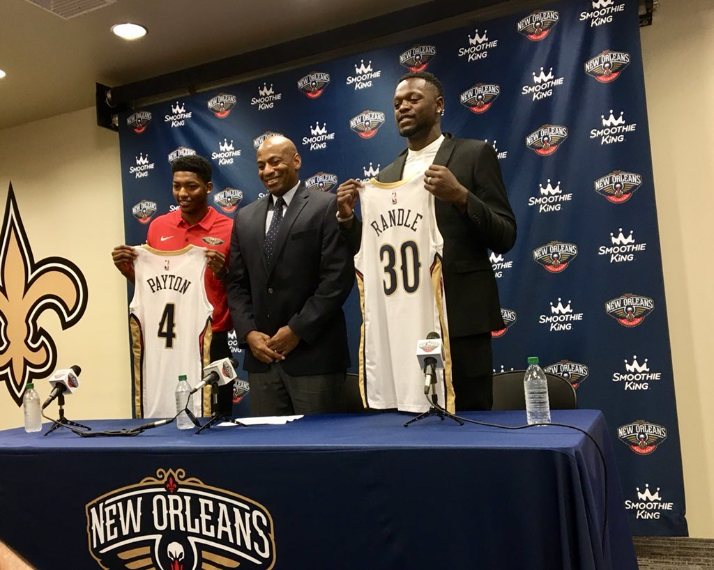 ICYMI: GM Dell Demps introduced Julius Randle and Elfrid Payton to the #Pelicans.   Watch��: https://t.co/q2qgGAh0C3 https://t.co/3XMzGMwcwM