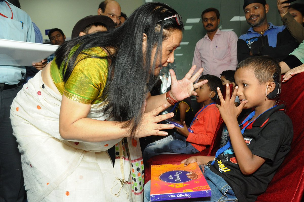 Smt. Shakuntala D Gamlin, Secretary, DEPwD, on Friday,  interacted with children undergone successful #CochlearImplant Surgery during inspection of newly constructed High-End Prosthetic Shop of ALIMCO and Products manufactured in Kanpur.  #Accessibility #India