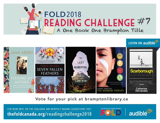We've been revisiting our #FOLDRC18 monthly challenges over the past week. Our July challenge is to read a One Book, One Brampton shortlisted title. Not hard to do with this amazing shortlist! Bonus: if audiobooks are your jam, you can read SCARBOROUGH on @audible_ca today! Photo