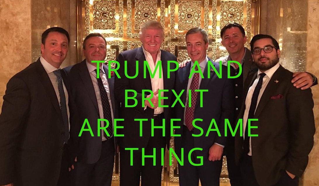 In case you have forgotten; Trump and Brexit are the same thing. #TrumpProtest #TrumpBabyBlimp #TrumpUKVisit <br>http://pic.twitter.com/pBxndxWd7P