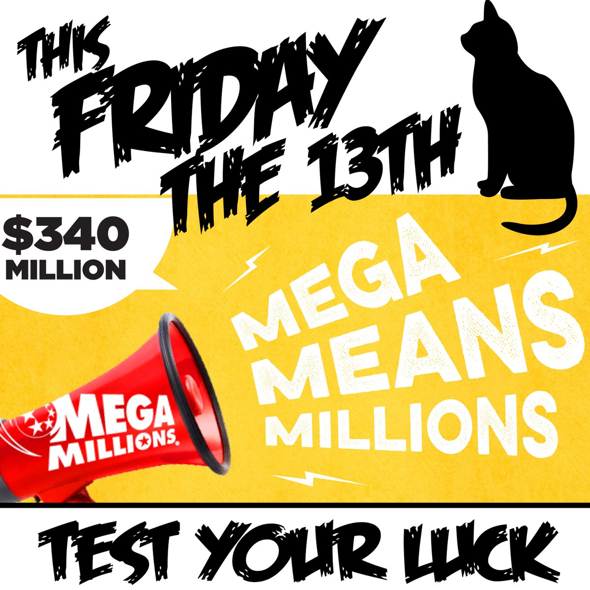 Tonight&#39;s Mega Millions draw is worth $340 million - the 10th largest jackpot in the game&#39;s history!  It&#39;s also Friday the 13th...SIX big jackpots have been won on Friday the 13th in the past. So, don&#39;t wait - grab a ticket today! <br>http://pic.twitter.com/6rGelcjgLs