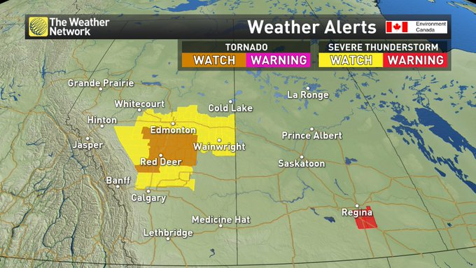 Tornado WATCH issued for parts of central Alberta. This means storms that occur today do have the potential to generate a tornado. See our Alerts page for more: #ABstorm Photo