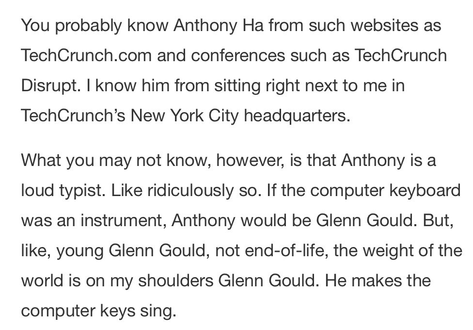 I'm the Glenn Gould of loud typing; it says so right here https://techcrunch.com/2018/07/13/how-much-quieter-are-the-new-macbook-pro-keyboards-hear-for-yourself/…