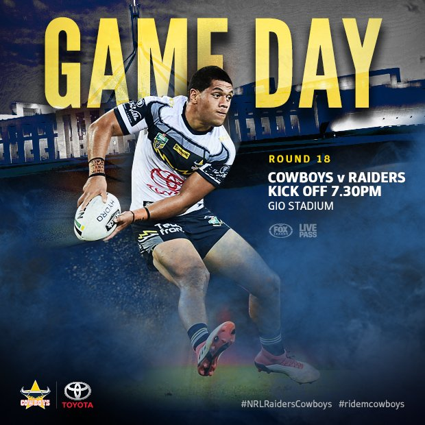 GAME DAY! We take on the Raiders in Canberra at tonight. #NRLRaidersCowboys #ridemcowboys Photo