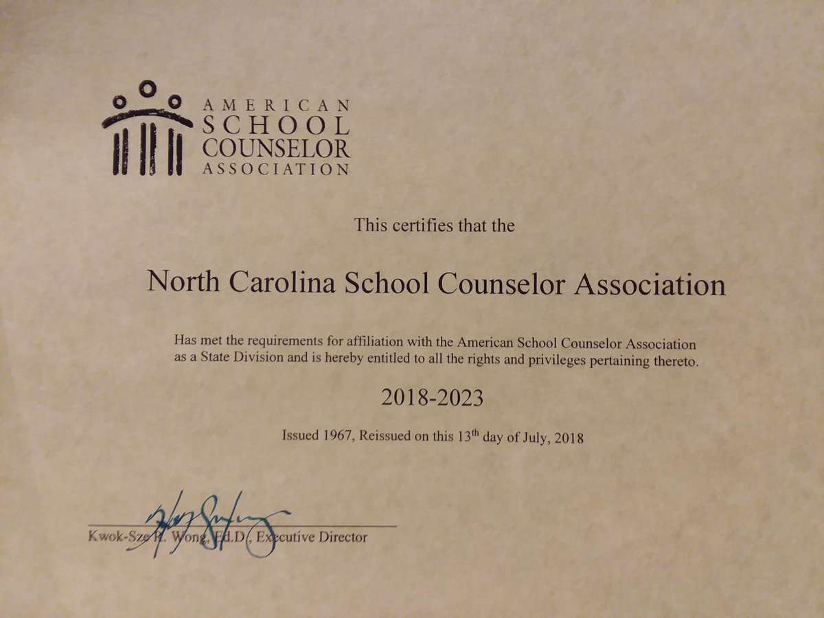 Nc School Counselors On Twitter Re Certified For 6 More Years We