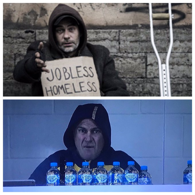 One of these guys is a man that is down on his luck, lost everything after life dealt him a bad hand and is now struggling to live day to The other is a homeless man. #NRLKnightsEels #Pray4Parra Photo