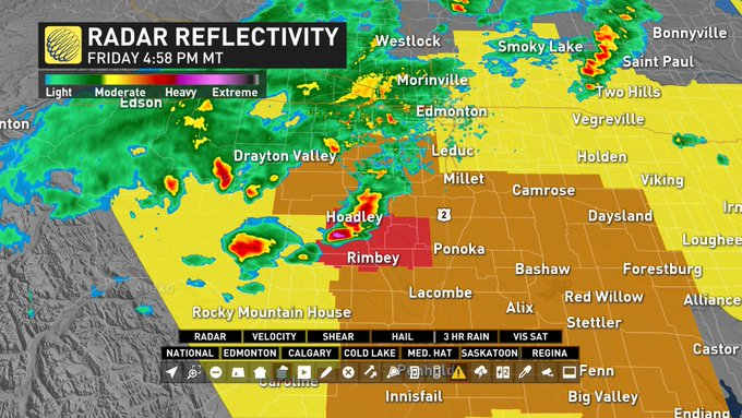 [5pm MDT] Severe Thunderstorm WARNINGS for storms west of #Ponoka: #ABstorm Photo