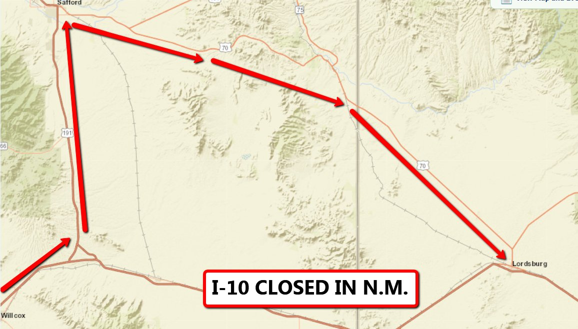 Arizona Dot On Twitter Now Interstate 10 Is Closed At The Border - Us-interstate-10-map
