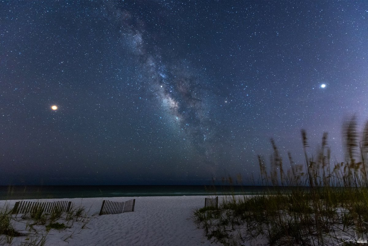 WOW! The Milky Way on Pensacola Beach, Florida in between Mars on the left and Jupiter in the right! Such an awesome sight to photograph!