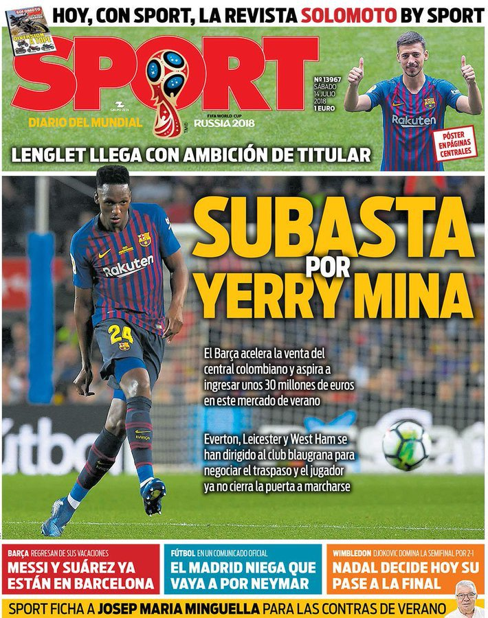 fe71333cc the sale of Yerry Mina and want to get at least €30m. Barça Universal on  Twitter  ...