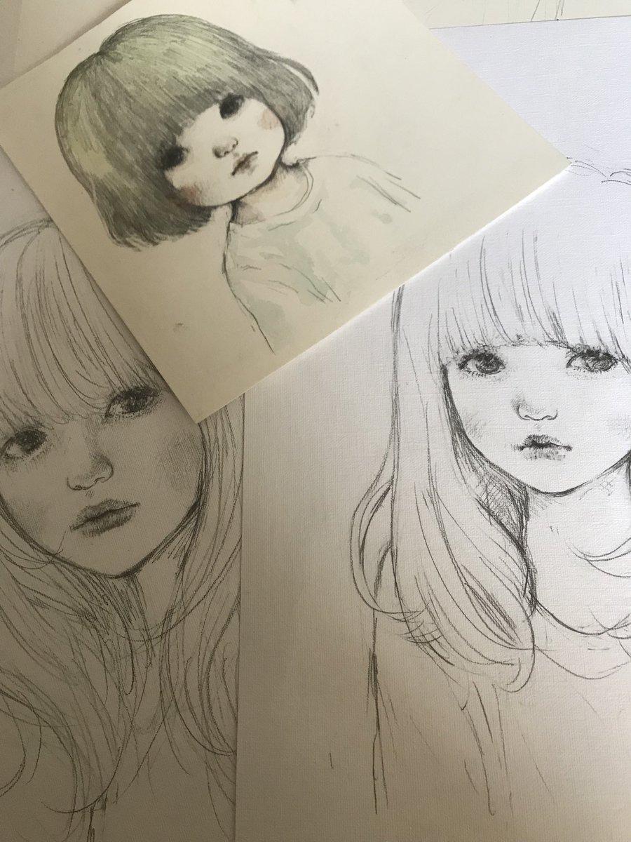 少し加筆して少女たちももっていこう #山田雨月個展   #モノショップギャラリー