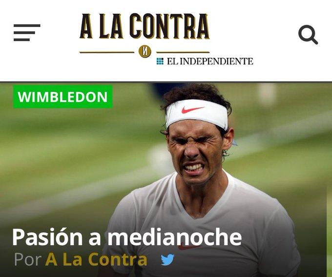 Sábado : - Nadal tuvo 3 bolas para ganar el tercer set, pero no aprovechó ninguna y el partido se interrumpió con ventaja de Djokovic por 6-4, 3-6, 7-6 (9) #Wimbledon - Isner y Anderson protagonizan una batalla interminable - #TourdeFrance2018 por @ismogo Foto