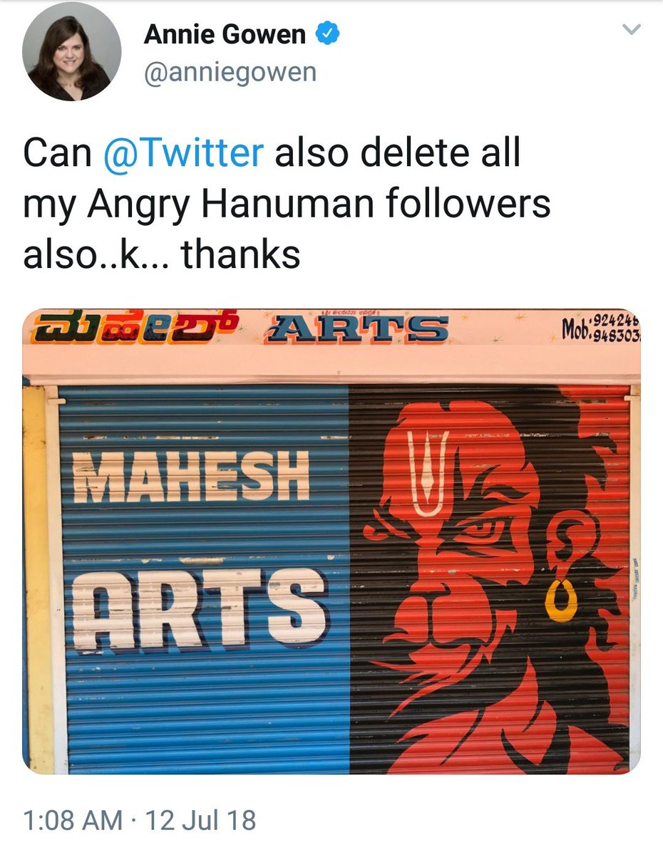 Wants 'Angry Hanuman' banned on twitter, works for an employer who makes money selling tshirt & posters of the same. https://t.co/YPxJWZSk17