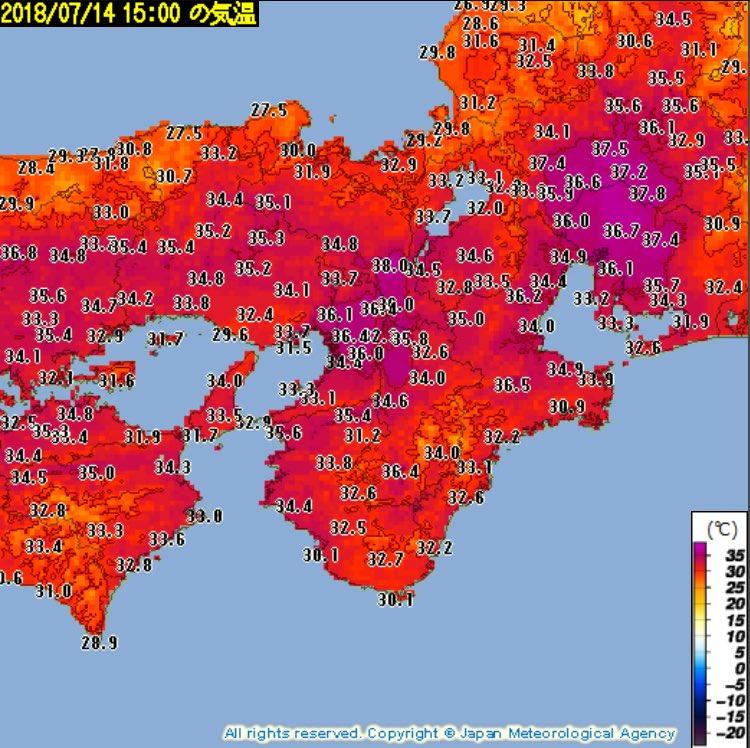 暴力的な暑さです.岐阜や京都,三重などで38℃以上の最高気温を観測.熱中症の危険性が極めて高くなっています.どうか体調管理に気をつけて下さい.