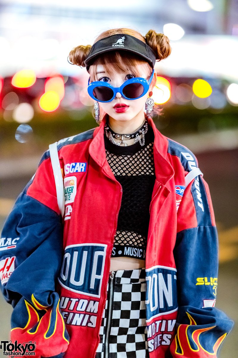 Tokyo Fashion On Twitter 18 Year Old Misuru On The Street In Harajuku Wearing A Vintage Nascar Racing Jacket Over A Fishnet Top Checkered Skirt From Wc Harajuku Yosuke Platforms Unif Rainbow Backpack