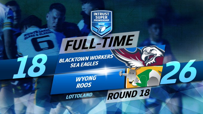 FULL-TIME The @WyongRoos get past the Blacktown Workers Sea Eagles in Round 18! #IntrustSuperPremiership Photo