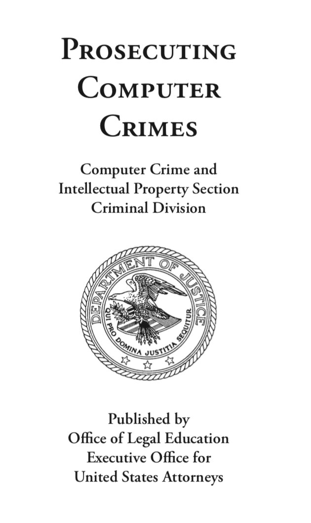 Hey if youve never read this, I suggest reading the US DOJ Prosecuting Computer Crimes guidebook! *Not a suggestion guidebook, sorry! justice.gov/sites/default/…