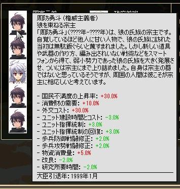 百錬太郎に閣僚特性を追加してみた。