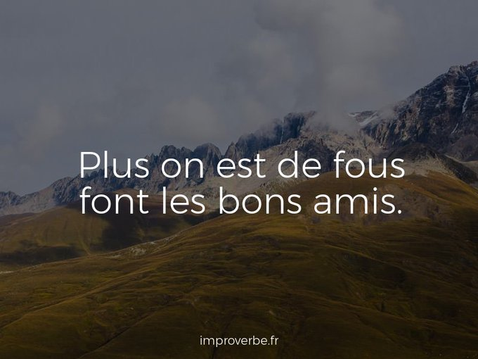 Improbable #proverbe : « Plus on est de fous font les bons amis. » #fab14edu Photo