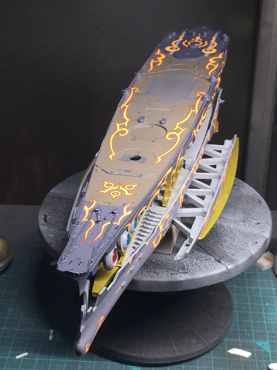 アルペジオ ムサシ、船体部分のデカール貼り終えました。完全に乾燥するまで置いておきます。この存在感、苦労した甲斐がありました…