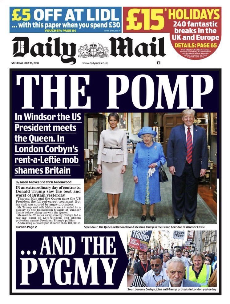 In the 1930s Lord Rothermere was a friend of Mussolini and Hitler, the Daily Mail praised Nazis and gave plaudits to the British Union of Fascists. So naturally this is their take on #TrumpUKVisit