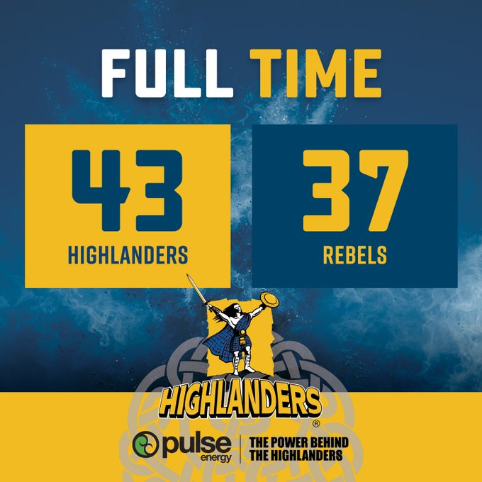 HIGHLANDERS 43 REBELS 37 The Highlanders get the tough fought win over the Rebels for the final home game for 2018. The Highlanders move into the quarterfinals next week with the opposition to become clear in the early hours of tomorrow morning. #HIGvREB #HighlandersANDyou Photo
