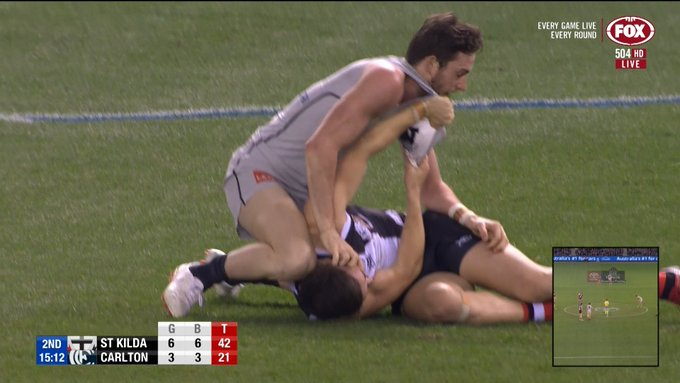 Lamb in hot water over face massage on Gresham. Check out the incident here: #AFL #AFLSaintsBlues Photo