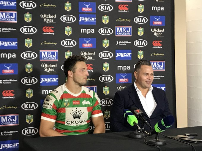 """ALL smiles from Head Coach Anthony Seibold now the @SSFCRABBITOHS have gone 9 in a row. """"It's very pleasing. Winning just one NRL game is an achievement. We are going to enjoy this win."""" #NRLBulldogsSouths #GoRabbitohs Photo"""