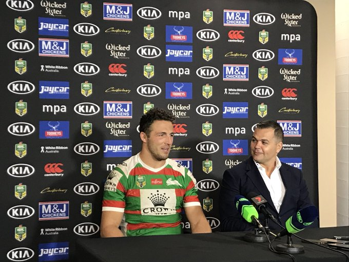 """CAPTAIN @SamBurgess8 is proud of teammate John Sutton's 300th, but couldn't help having a laugh 😂 """"It's a great achievement for him. When he shows up to training he is always the most enthusiastic, even though he is one of the oldest."""" #NRLBulldogsSouths #GoRabbitohs Photo"""