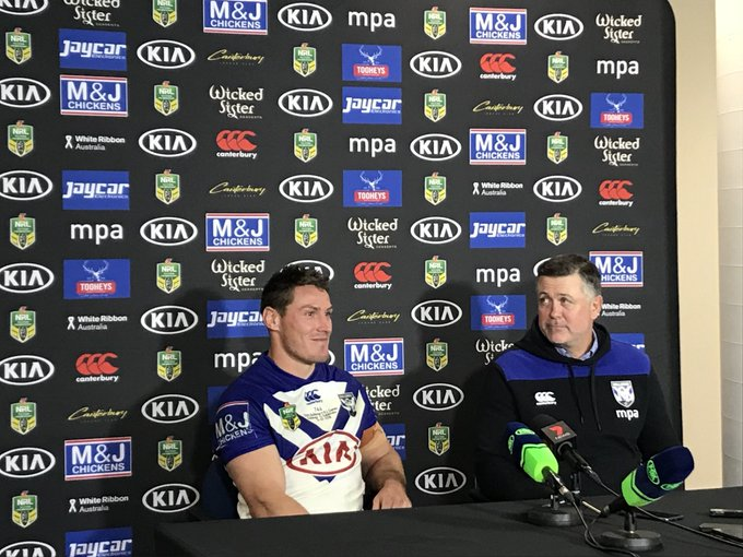 """DESPITE the loss, Captain Josh Jackson is one proud Bulldog after his 150th: """"It's always a privilege and an honour to wear this jersey, it's something I will look back & remember."""" #NRLBulldogsSouths #proudtobeabulldog Photo"""
