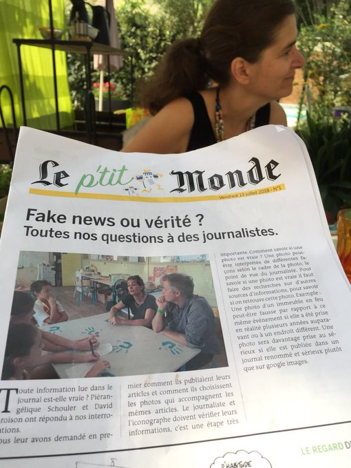 Trop sympas et hyper pros les enfants du P'tit Monde qui font les interviews l'après-midi et publient le soir même ! #FestJournalisme #EducMediasInfo Photo