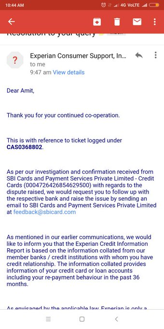 @SBICard_Connect please check attachment of mail received from @Experian Please look into this and resolved as soon as possible previously your representative assured late payment not reported by SBI Photo