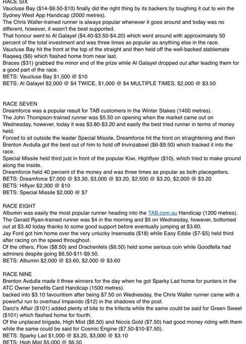 Here's a @tabcomau Fixed Odds wrap of the Rosehill Quaddie. Punters rallied for Dreamforce in the Winter Stakes. Photo