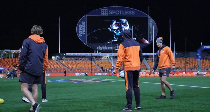 Just a casual screening of 'Ant-Man' in the background as the players warm up. No changes to our side. #AFLGIANTSTigers #BeGIANT Photo