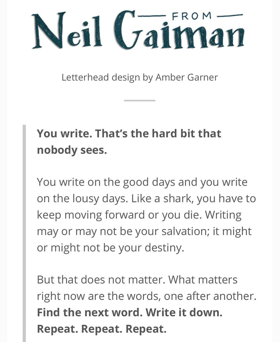 RT @Janika_Hoffmann: Yesterday, that 2007 peptalk from @neilhimself might have been my salvation ... #findthelight #evenonbaddays #writing #forgettingaboutthisworldforawhile #campnanowrimo2018 #peptalk #authorpic.twitter.com/yd6lyY51Uw